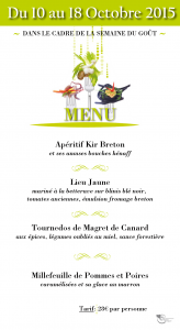 Menu Semaine du Gout Restaurant Hostellerie de la Mer