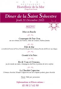 Menu Nouvel An , Hotel Restaurant Hostellerie de la Mer à Crozon (Bretagne)